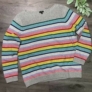 TALBOTS | sz XLP gray/rainbow stripe sweater
